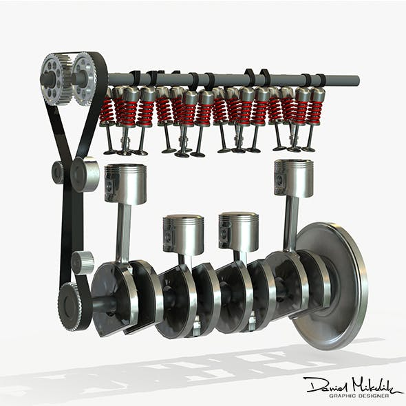 Animated Engine Parts 4T PBR - 3DOcean Item for Sale