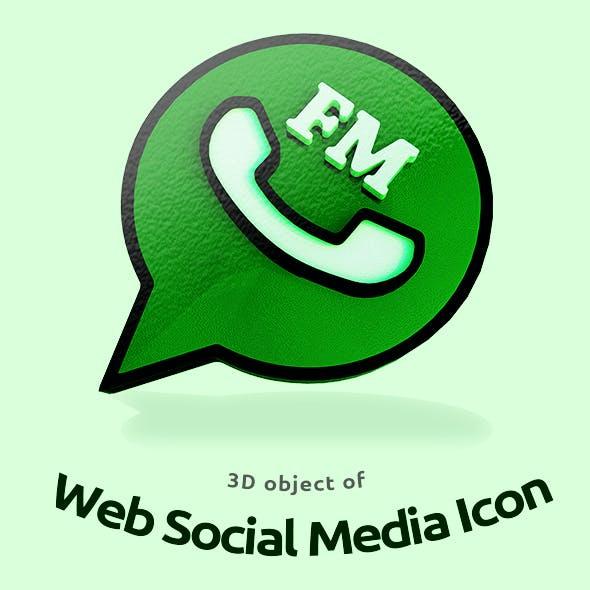 3D object of Web Social Media Icon