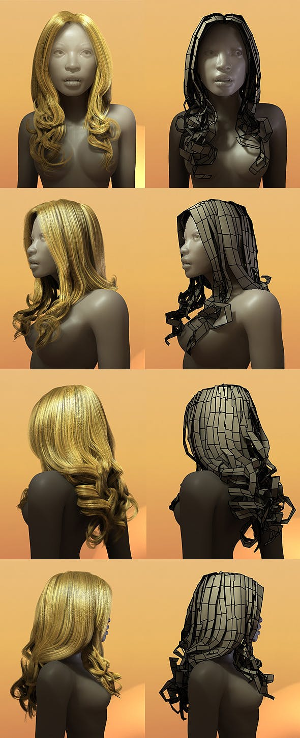 Female Hair Style 003 - 3DOcean Item for Sale