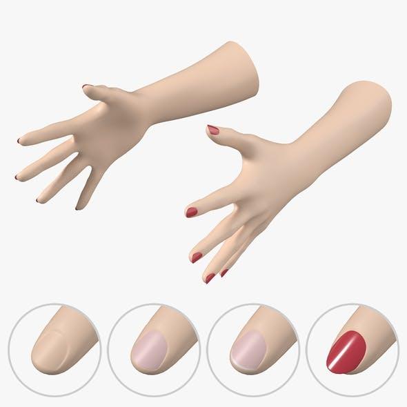 Female Hands Gesture 03 Base Mesh