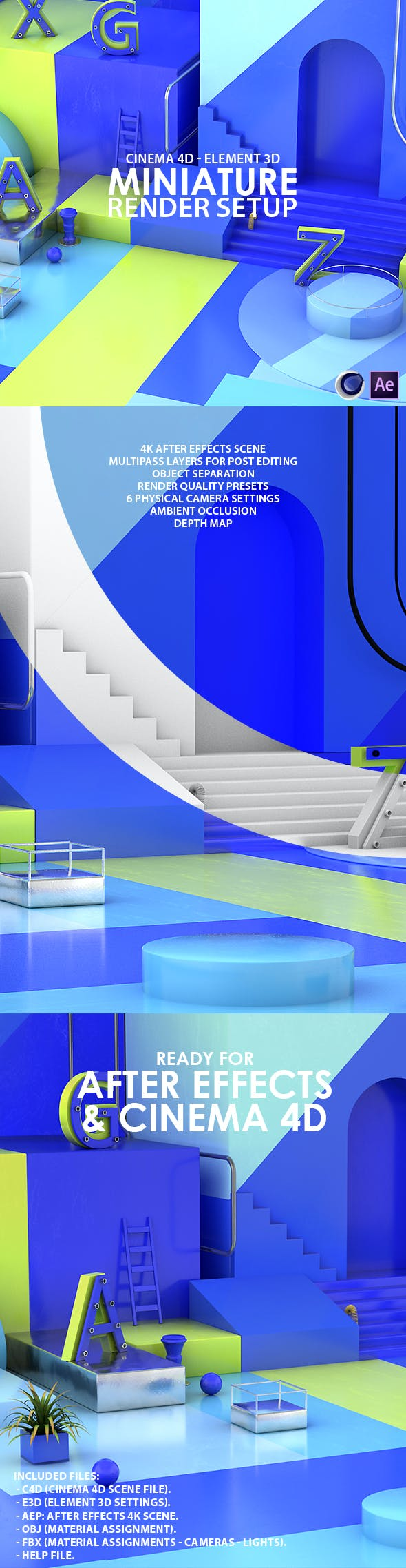 Miniature Render Setup Cinema 4D & Element 3D - 3DOcean Item for Sale