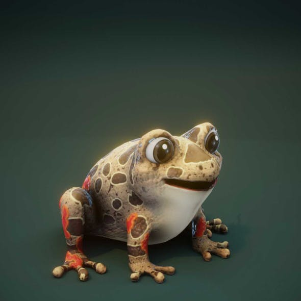 Cartoon Red-legged Frog Rigged 3D Model