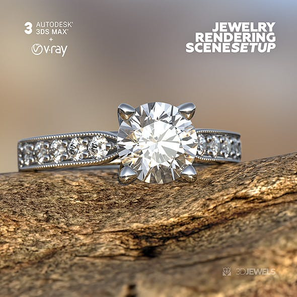 Scene Setup for Jewelry V-Ray 3D Rendering with 3ds Max