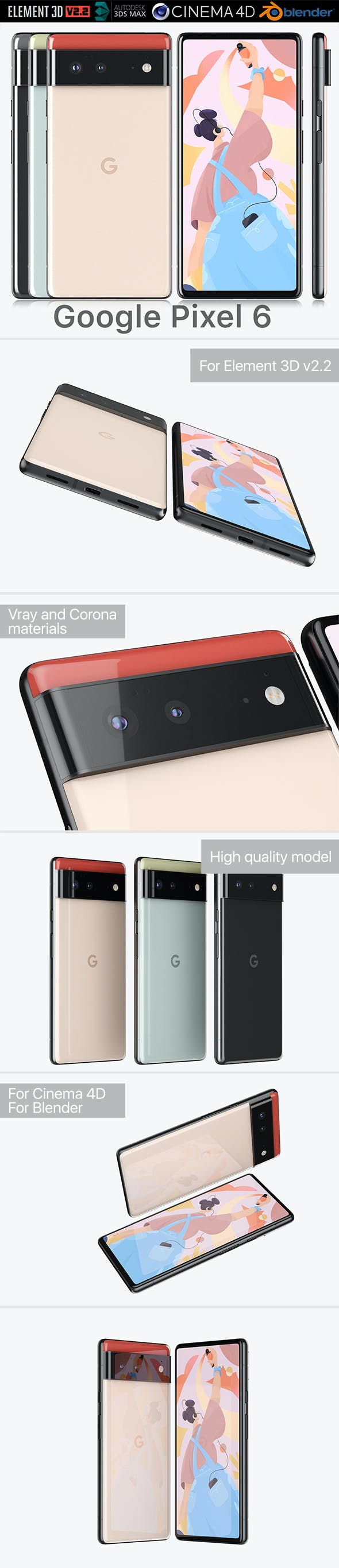 Google Pixel 6 all colors - 3DOcean Item for Sale