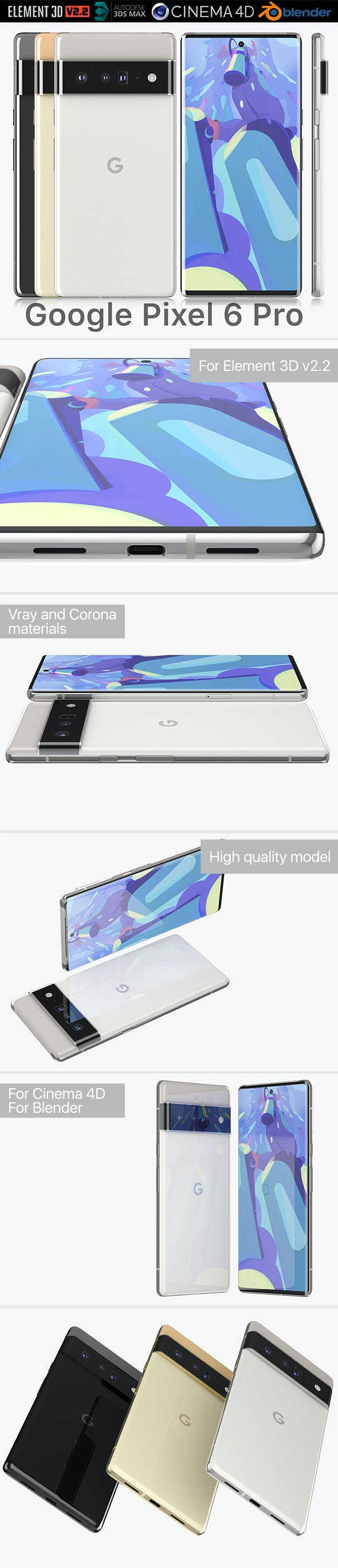Google Pixel 6 Pro all colors - 3DOcean Item for Sale
