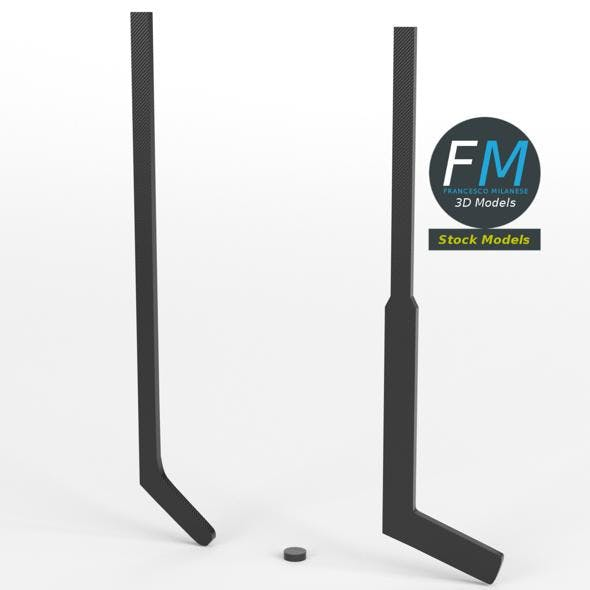 Ice hockey sticks and puck - 3DOcean Item for Sale