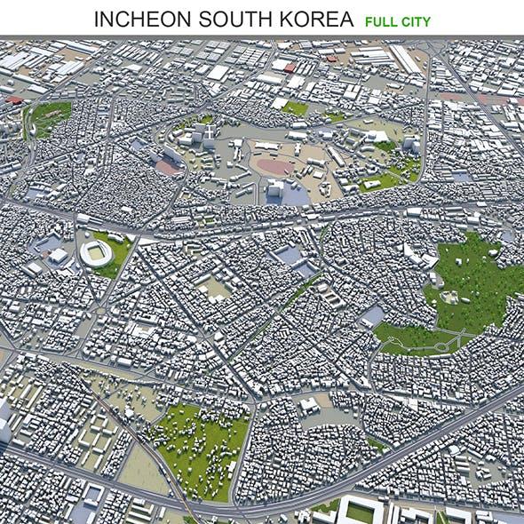 Incheon city South Korea 3d model 100km