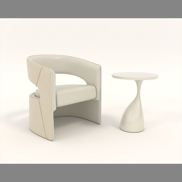 Contemporary Chair and Coffee Table 3 - 3DOcean Item for Sale