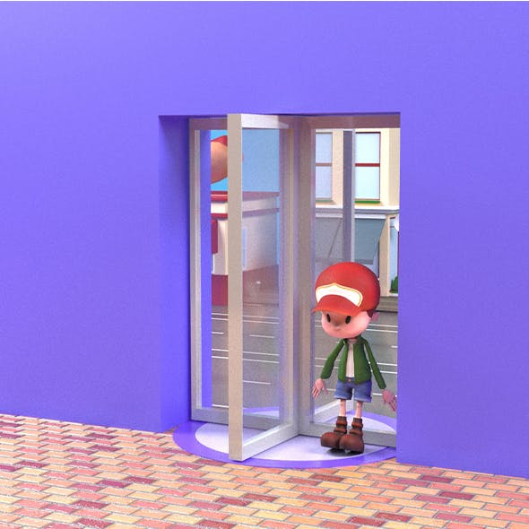 3D revolving door with standing position small cute little boy.