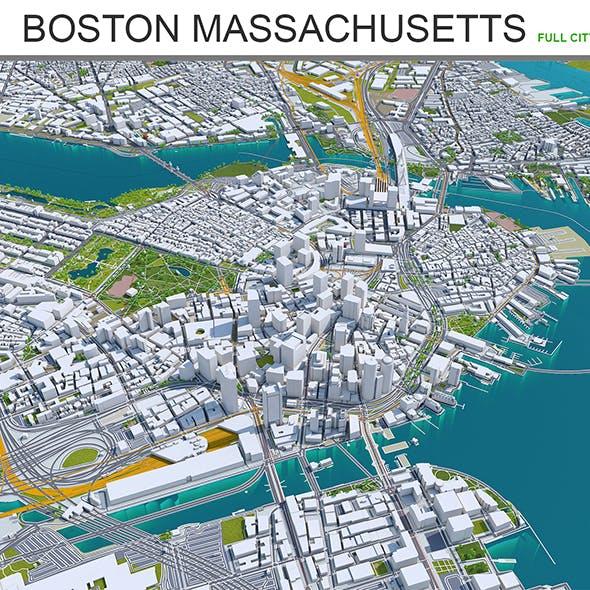 Boston Massachusetts 3D Model 50km