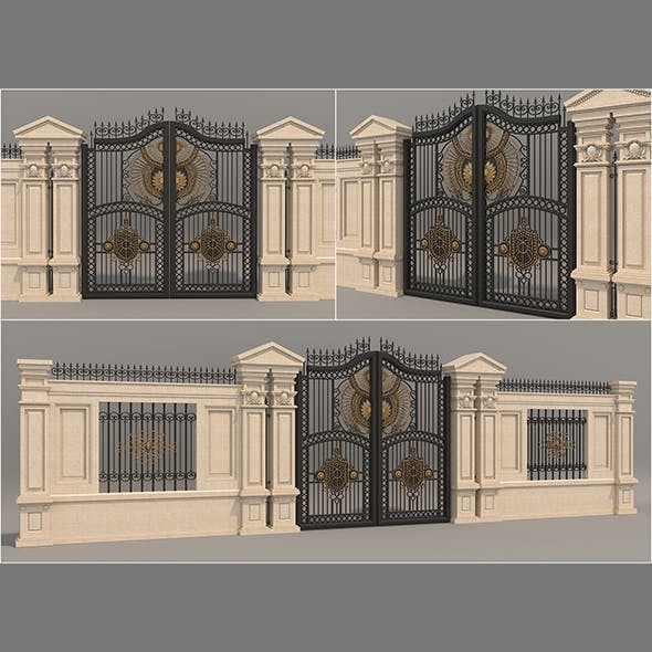 Classic Mansion Gate 3 - 3DOcean Item for Sale