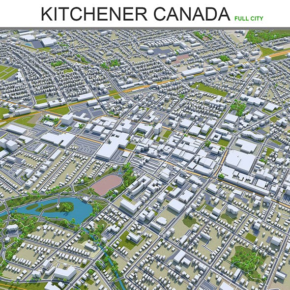 Kitchener city Canada 3d model 40 km