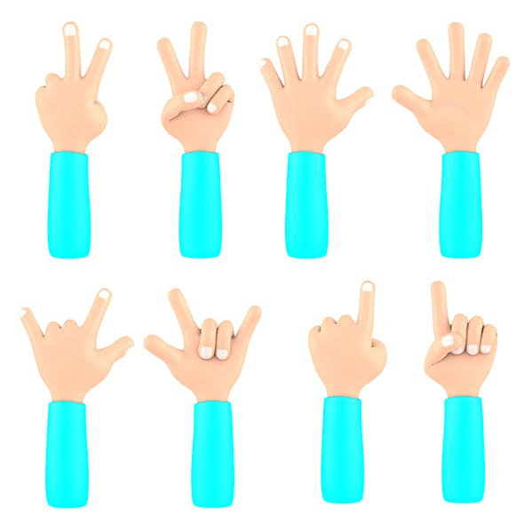Cartoon Rigged Hand - 3DOcean Item for Sale