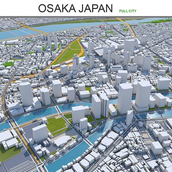 Osaka city Japan 3d model 100km