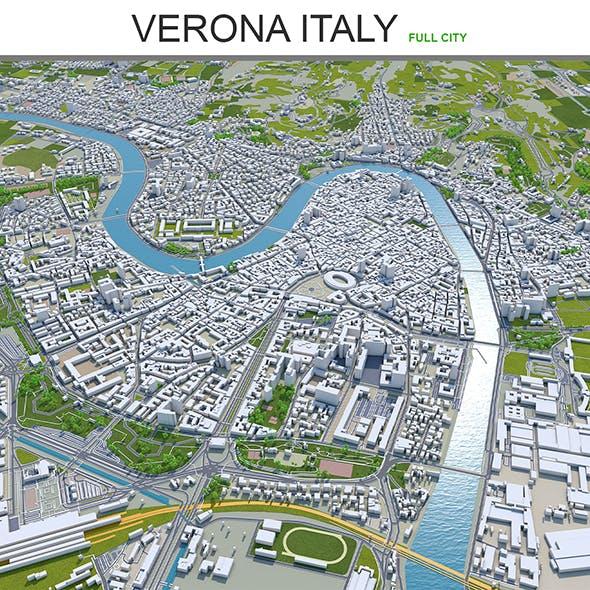 Verona city Italy 3d model 120km