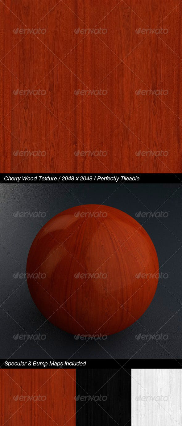 HQ Cherry Wood Texture with Bump & Specular Maps - 3DOcean Item for Sale
