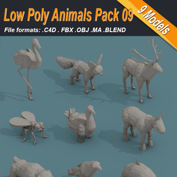 Low Poly 3d Art Animals Isometric Icon Pack 09