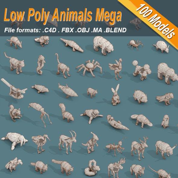 Low Poly 3d Art Animals Isometric Icon Mega