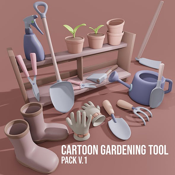 Cartoon Gardening Tools Pack v.1