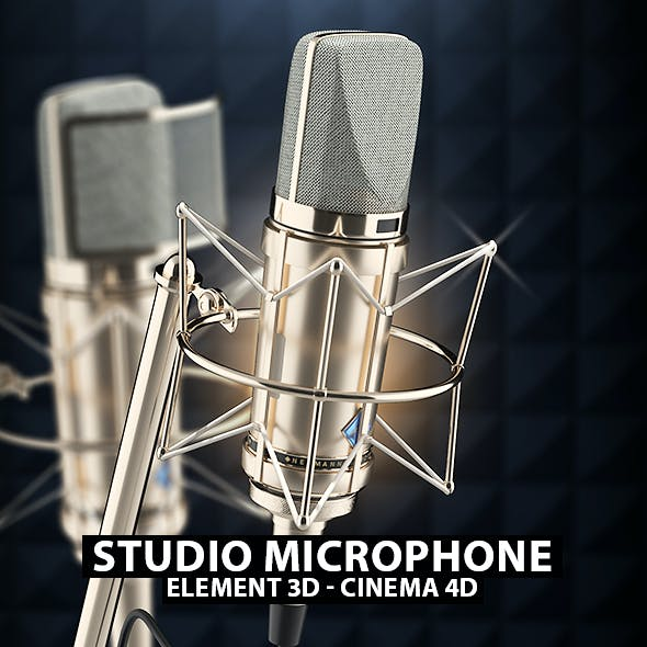 Studio Microphone 3D Model for Element 3D & Cinema 4D