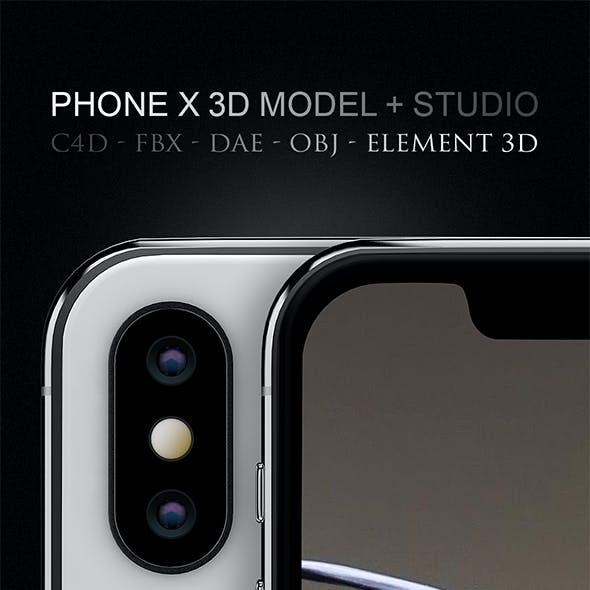iPhone X 3D Model for Cinema 4D & Element 3D