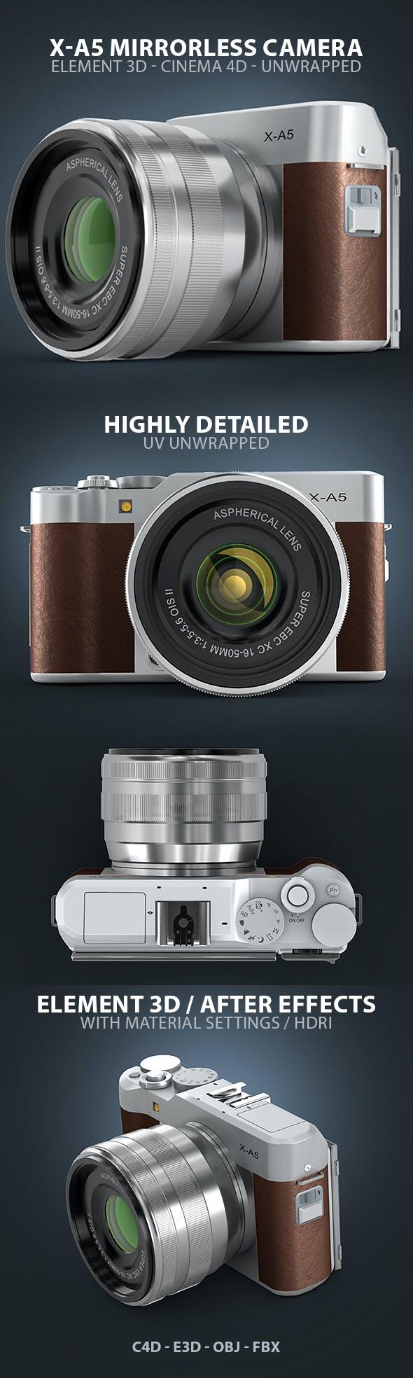 Fuji X-A5 Mirrorless Digital Camera Element 3D & Cinema 4D Model - 3DOcean Item for Sale