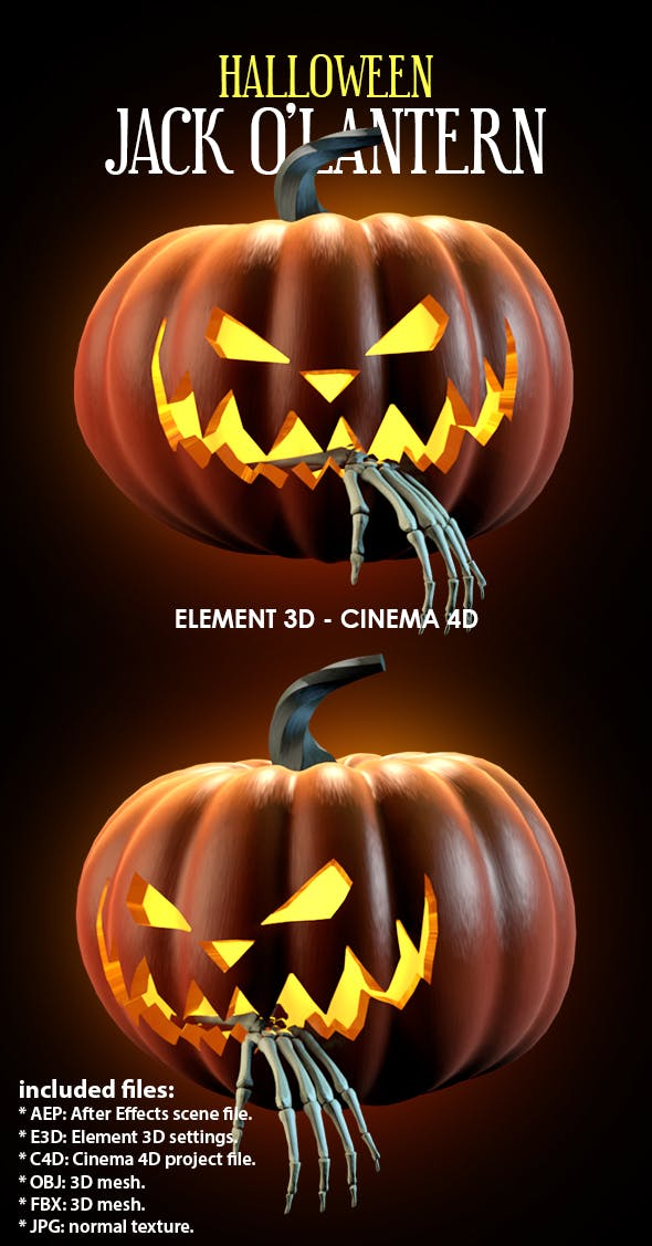 Evil Halloween Jack O'Lantern Carved Pumpkin 3D Model for Element 3D & Cinema 4D - 3DOcean Item for Sale