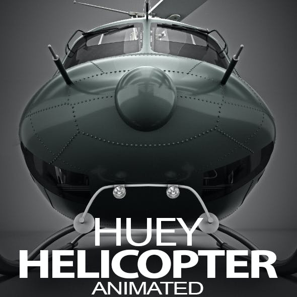 Classic Bell 212 Huey Helicopter 3D Model + Machine Gun for Vray