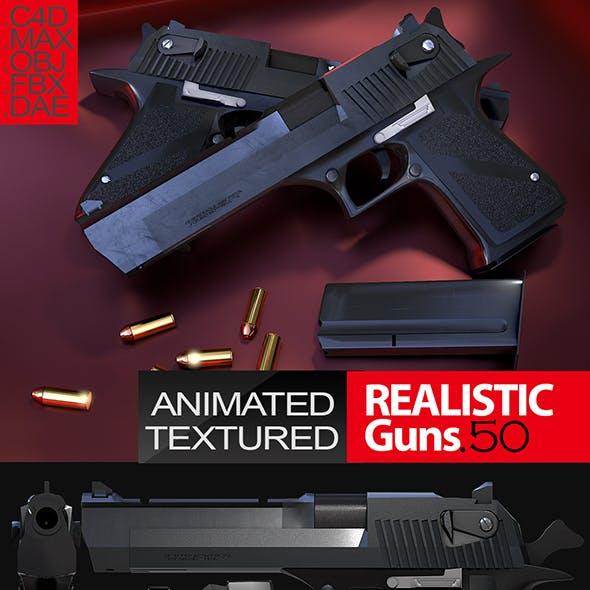 Desert Eagle .50 Realistic Gun 3D Model (Animated)