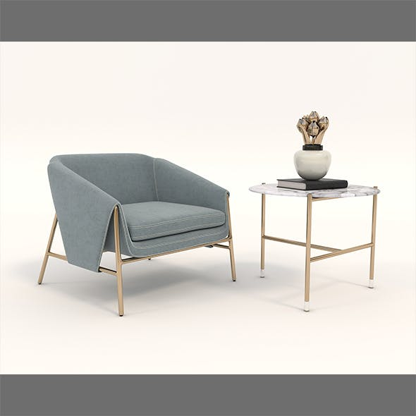 Contemporary Chair and Coffee Table 4 - 3DOcean Item for Sale