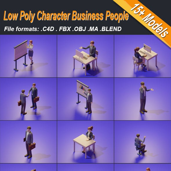 Low Poly 3D Stylized Character Business People Isometric Set