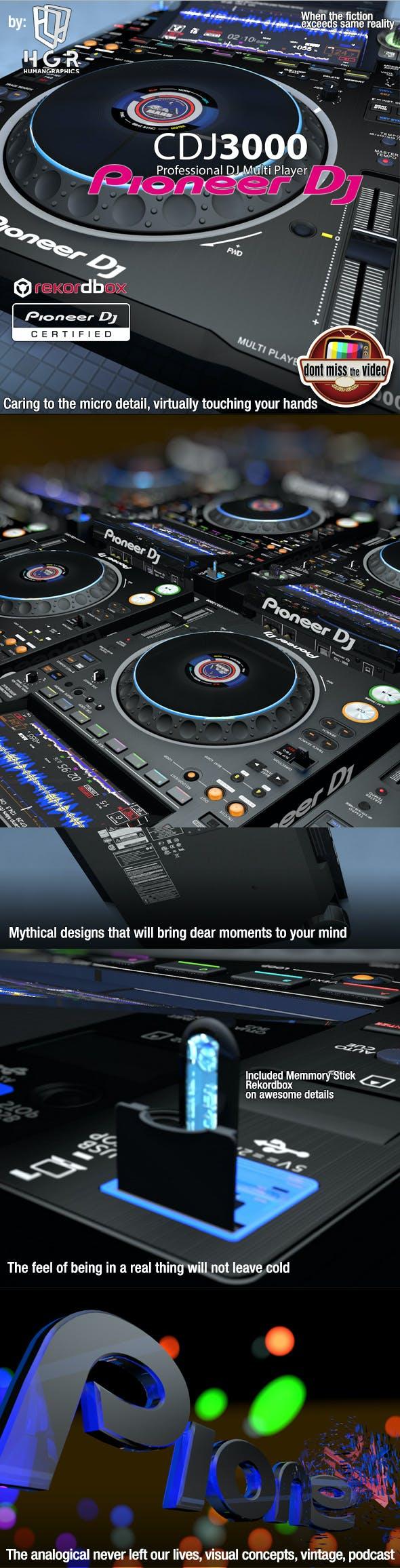 Realistic DJ pro audio, Pioneer DJ CDJ3000 (2020) - 3DOcean Item for Sale