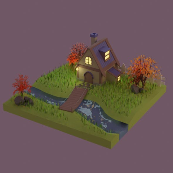 Autumn house low poly