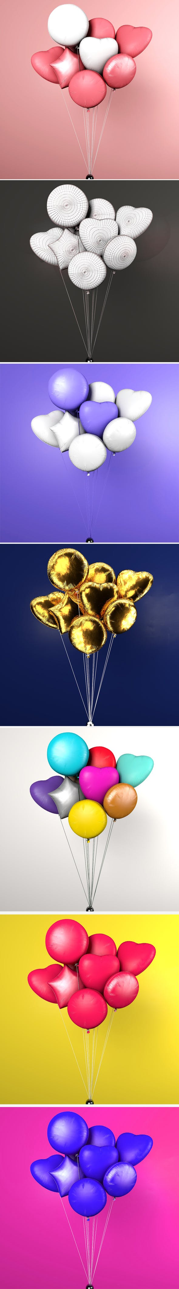 Balloons / 10 Colorful balloons - 3DOcean Item for Sale