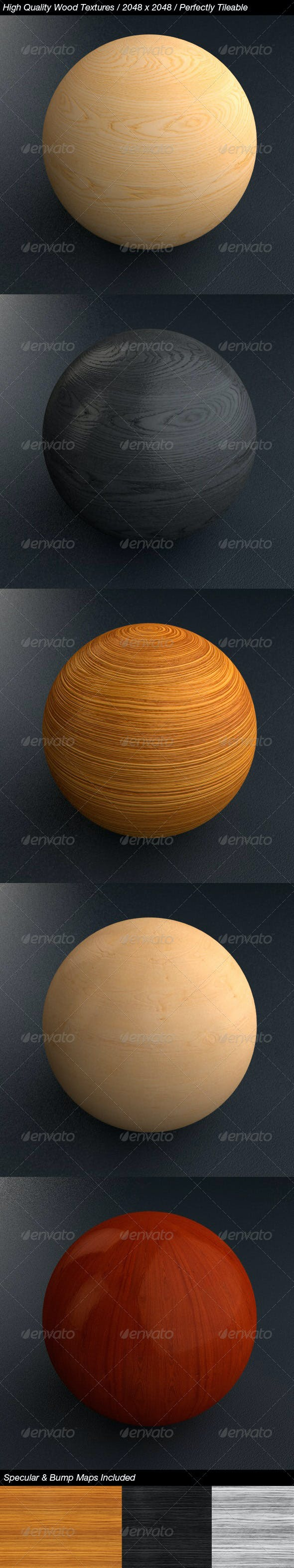 5 HQ Wood Textures with Bump & Specular Maps - 3DOcean Item for Sale
