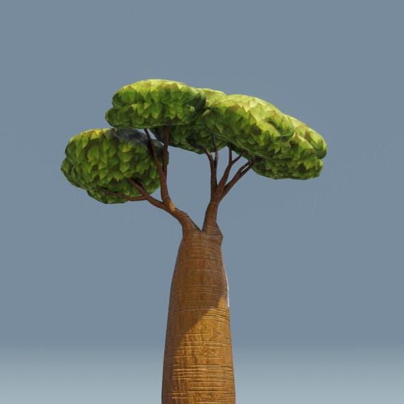 Cartoon Baobab Tree 3D Model