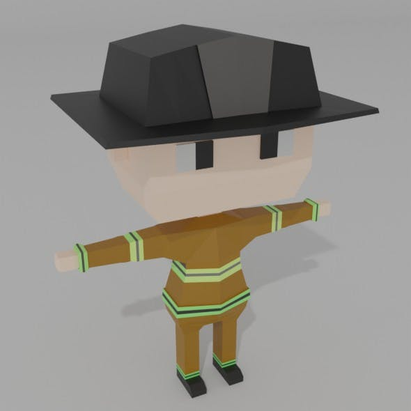 LOW POLY FIREFIGHTER CHARACTER