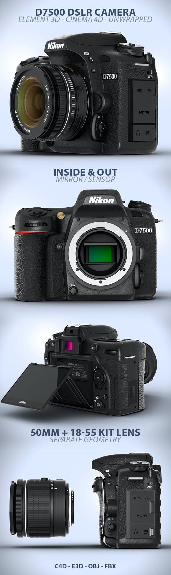 D7500 DSLR Digital Camera Element 3D Model - 3DOcean Item for Sale