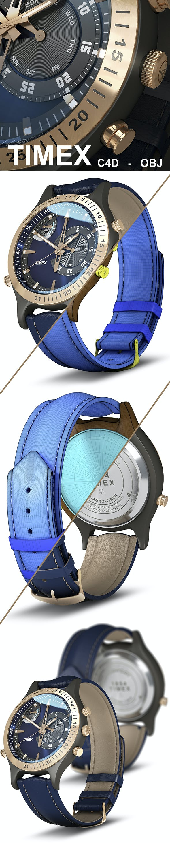 Timex Chronograph Detailed Watch 3D Model - 3DOcean Item for Sale