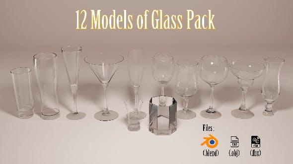 3d glass model pack - 3DOcean Item for Sale