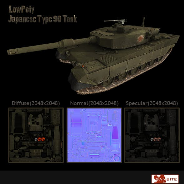 LowPoly Japanese Type90 Tank