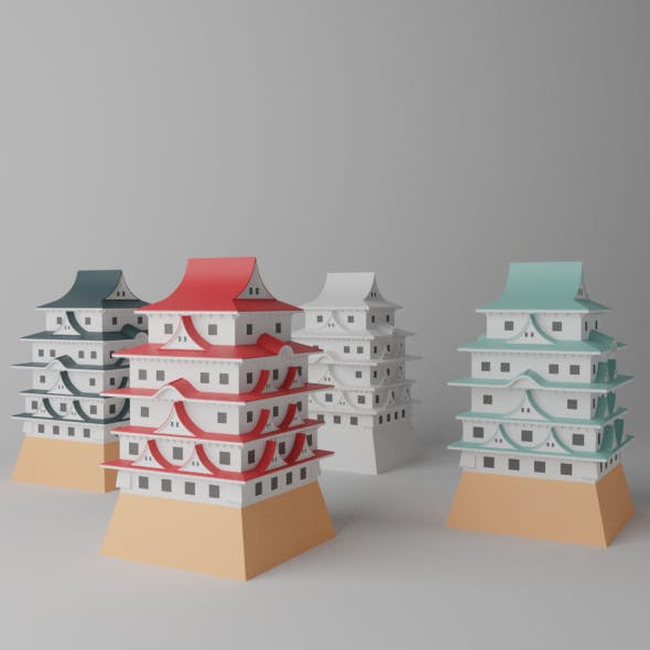 Cartoon Japanese Castle Collection - 3DOcean Item for Sale