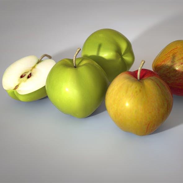 apple green and red 3d model