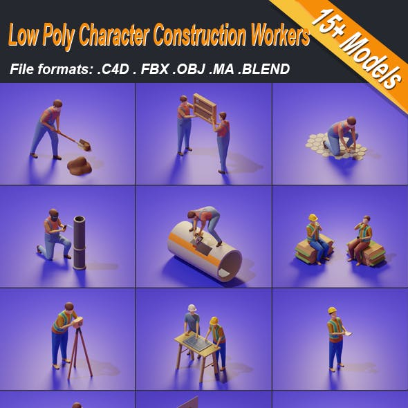 Low Poly 3D Stylized Character Construction Workers Isometric
