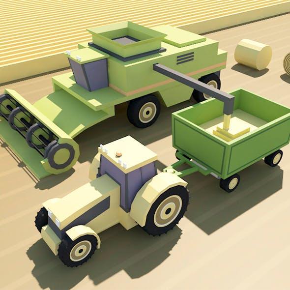 Farm  low poly 3d model