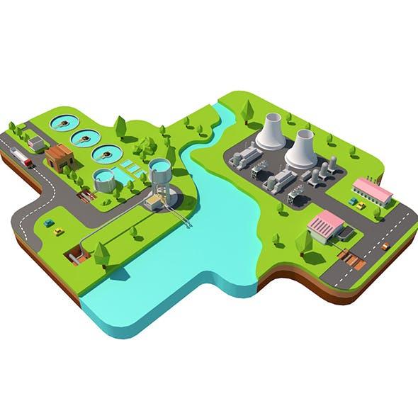 Power plant low poly 3d model