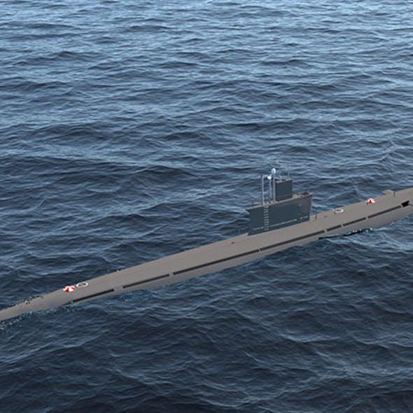 High-poly realistic submarine class Romeo