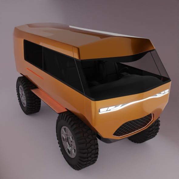 minibus SUV Low-poly 3D model