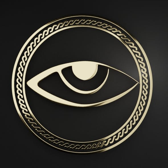 an eye in a ring with an ornament Low-poly 3D model