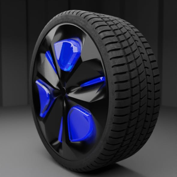 a wheel with a futuristic disk Low-poly 3D model